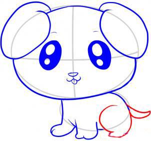 Учимя рисовать щенка - шаг 7