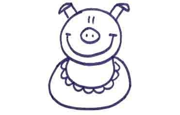 Рисуем свинку с ложной и вилкой ребенку - фото 9