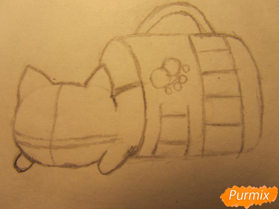 Рисуем котика спящего в кружке детям карандашами - шаг 3