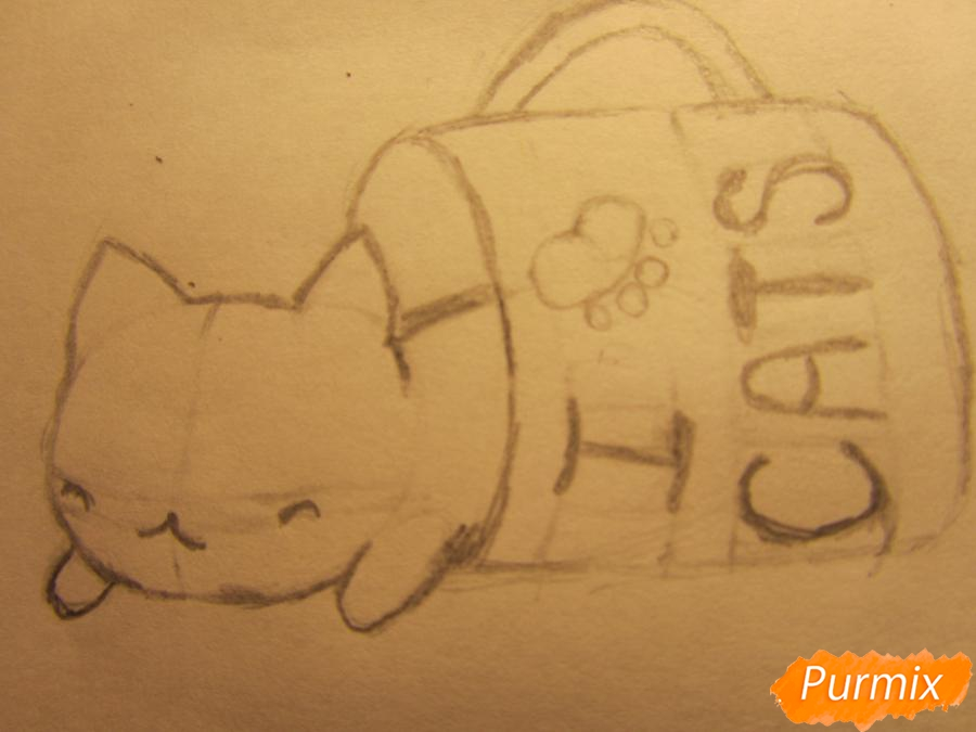 Рисуем котика спящего в кружке детям карандашами - шаг 4