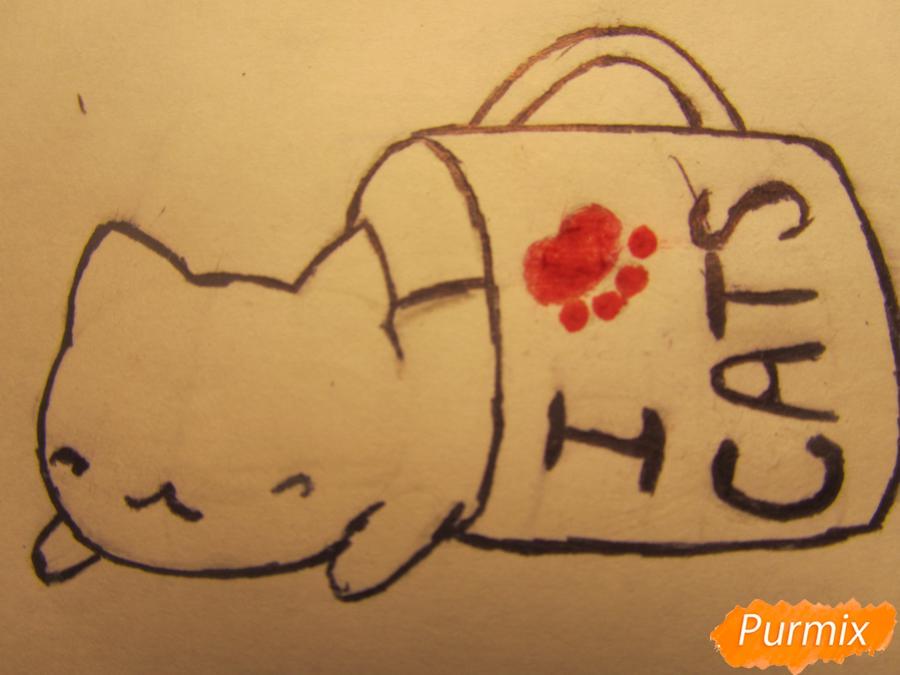 Рисуем котика спящего в кружке детям карандашами - шаг 5