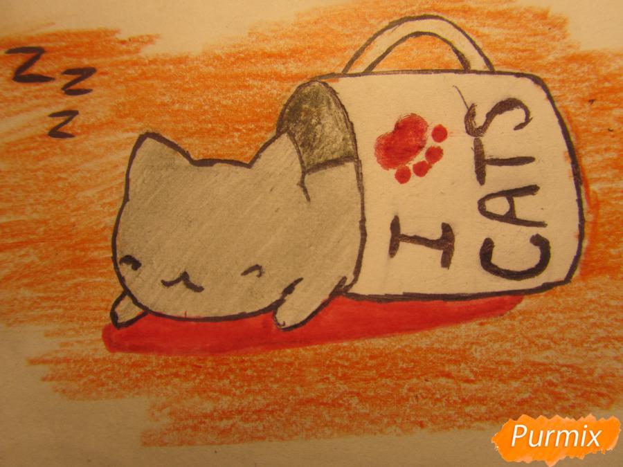 Рисуем котика спящего в кружке детям карандашами - шаг 6