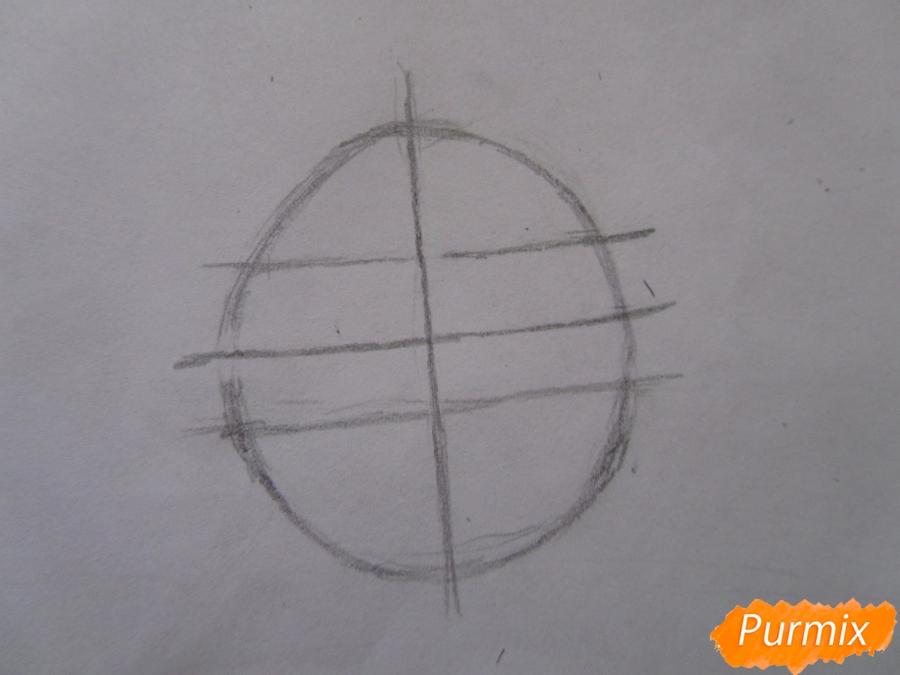 Рисуем маленького единорожка ребенку карандашами - шаг 1