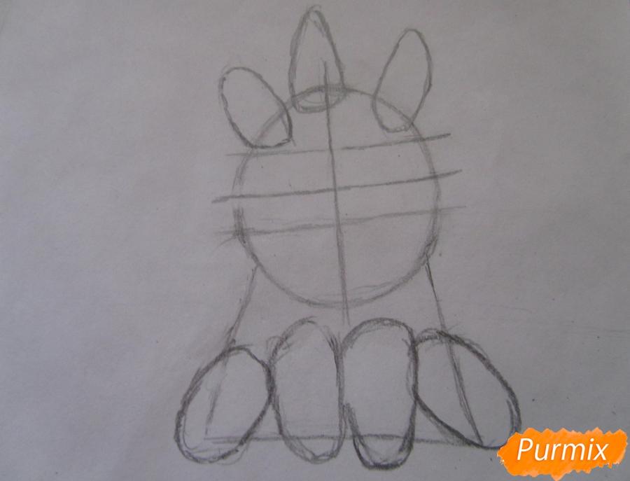 Рисуем маленького единорожка ребенку карандашами - шаг 3