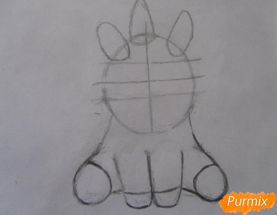 Рисуем маленького единорожка ребенку карандашами - шаг 4
