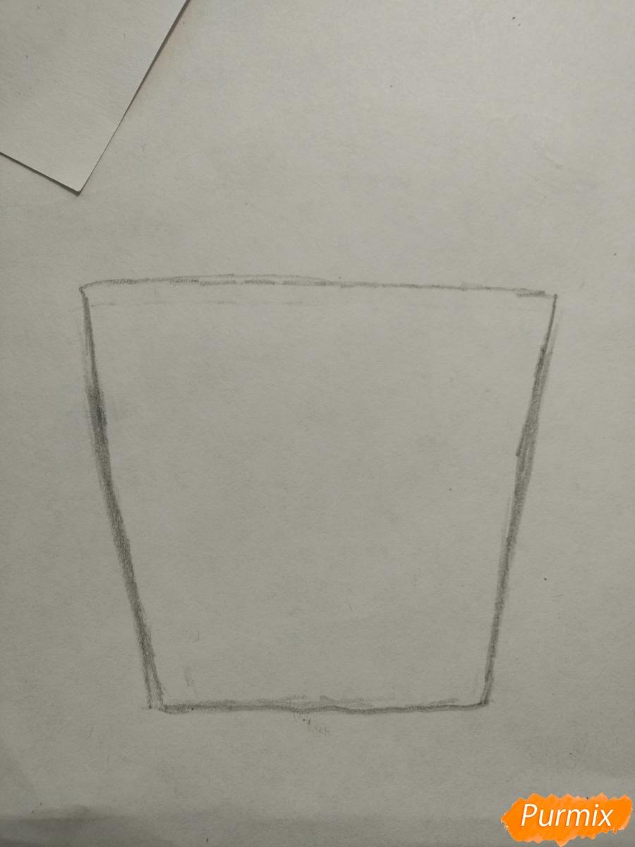 Рисуем милашного котенка в чашечке детям - шаг 1