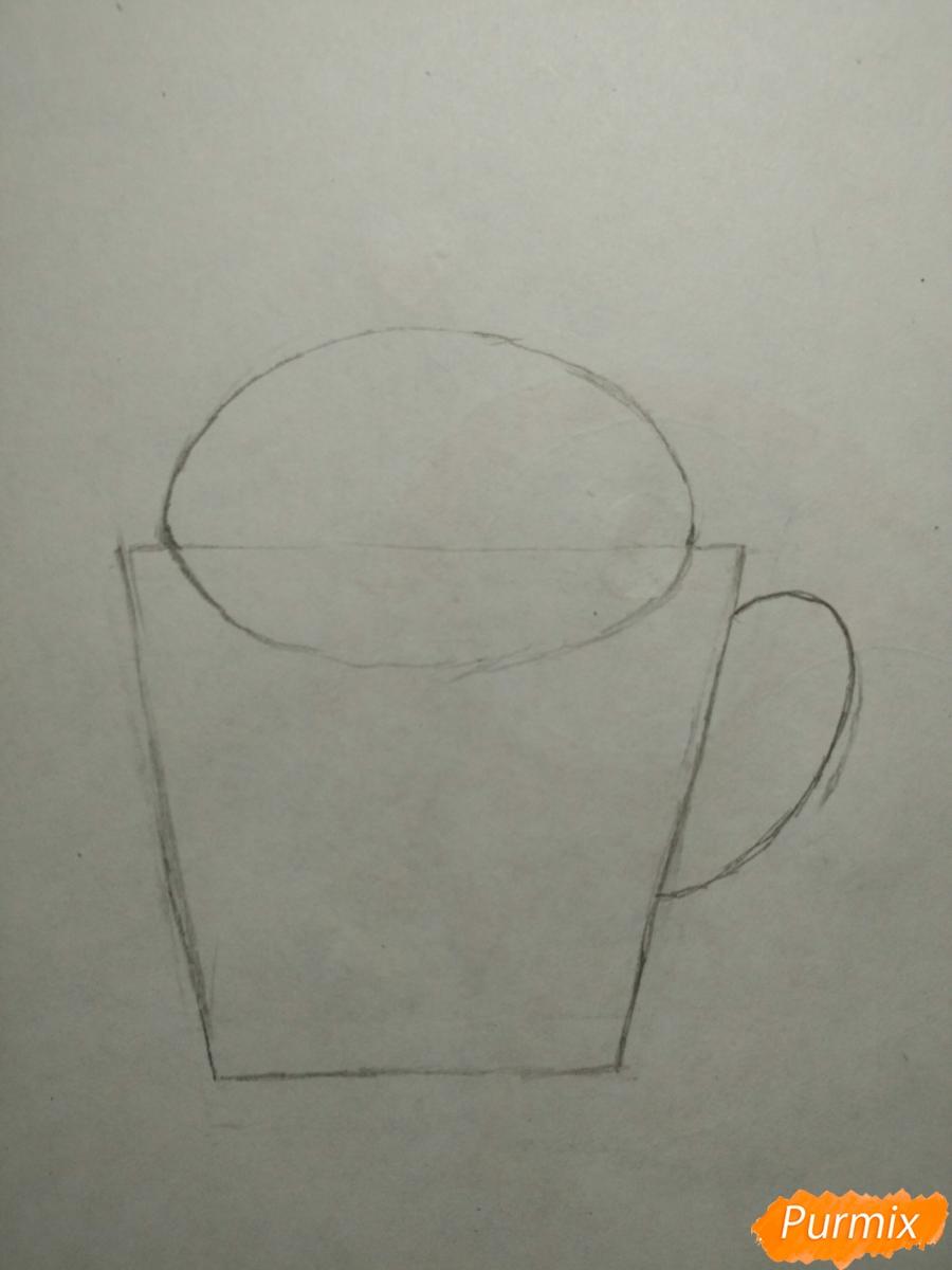 Рисуем милашного котенка в чашечке детям - шаг 2