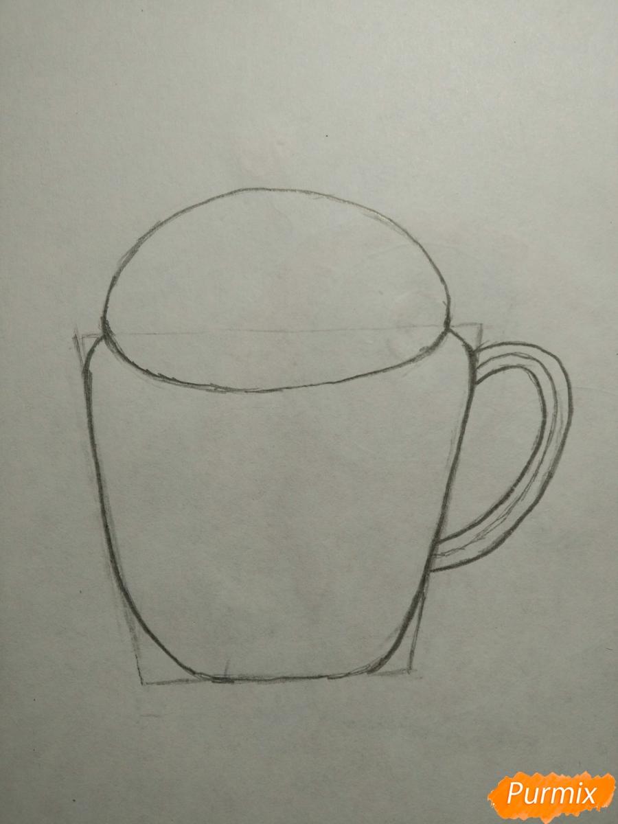 Рисуем милашного котенка в чашечке детям - шаг 3