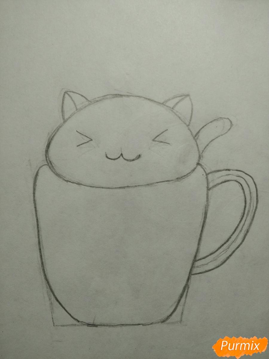 Рисуем милашного котенка в чашечке детям - шаг 4