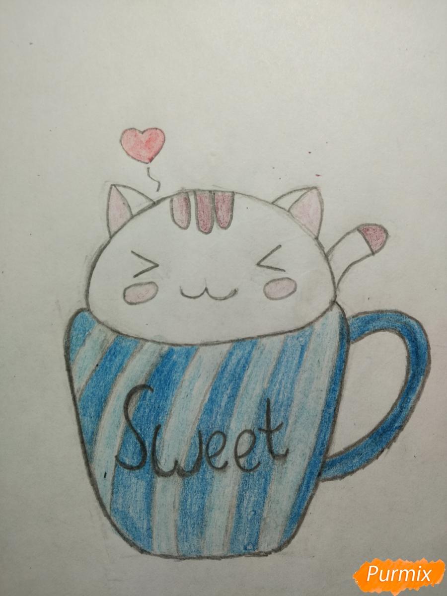 Рисуем милашного котенка в чашечке детям - шаг 5