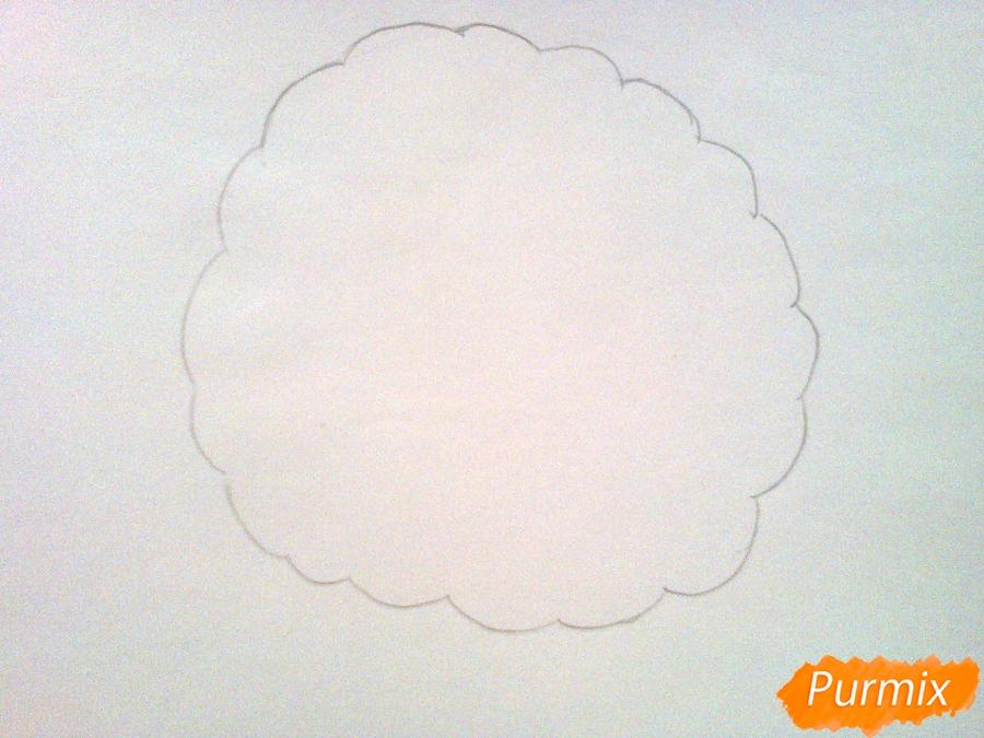 Рисуем милого барашка ребенку карандашами - шаг 2