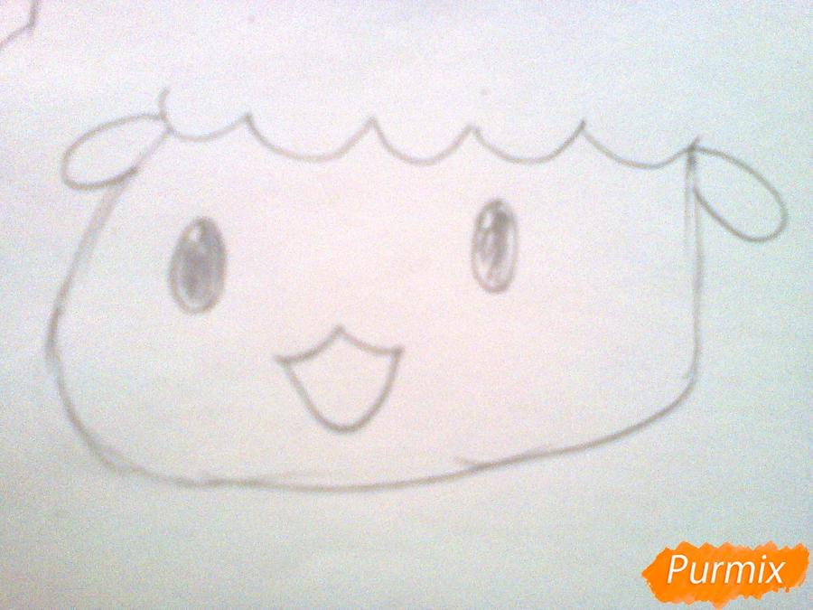 Рисуем милого барашка ребенку карандашами - шаг 3