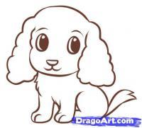 Как легко нарисовать щенка для детей поэтапно