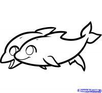 дельфина для детей карандашом
