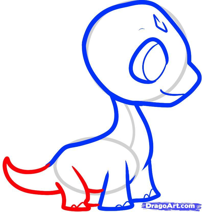Рисуем детеныша брахиозавра ребенку