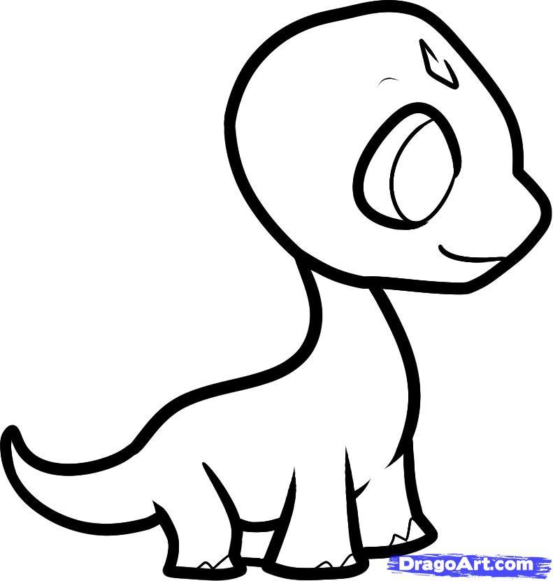 Как нарисовать детеныша брахиозавра ребенку  карандашом поэтапно