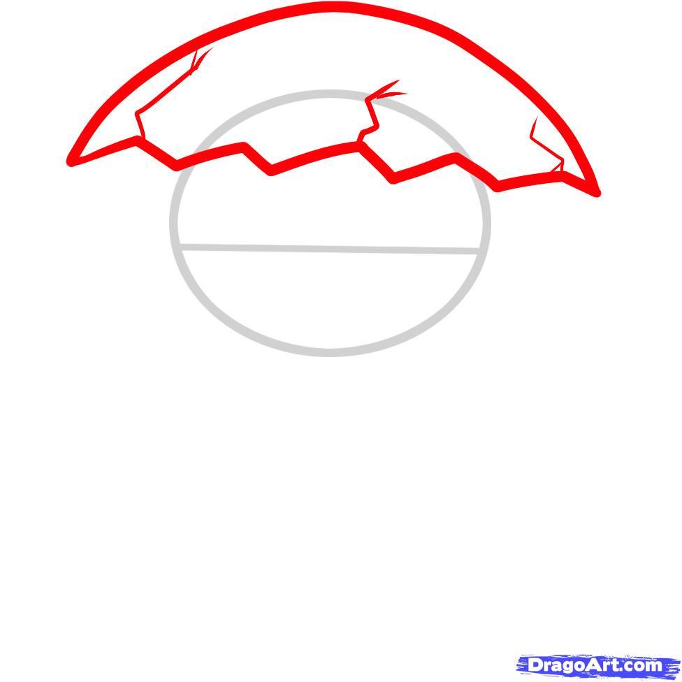 Как нарисовать Динозаврика в скорлупе ребенку карандашом поэтапно
