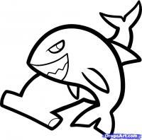 двух акул ребенку карандашом