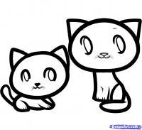 двух маленьких котят ребенку карандашом