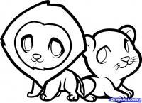 двух маленьких львов ребенку карандашом