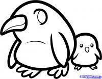 Фото двух маленьких пингвинов карандашом