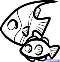 двух рыбок ребенку карандашом