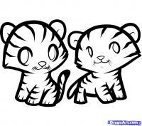 двух тигрят ребенку карандашом
