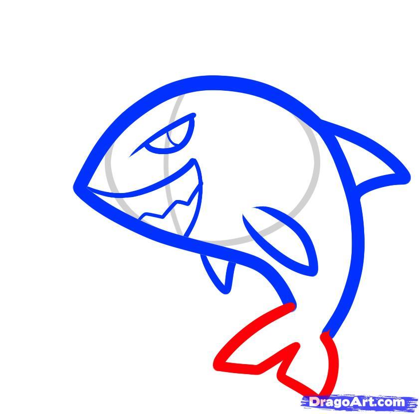 Рисуем двух акул ребенку - фото 4