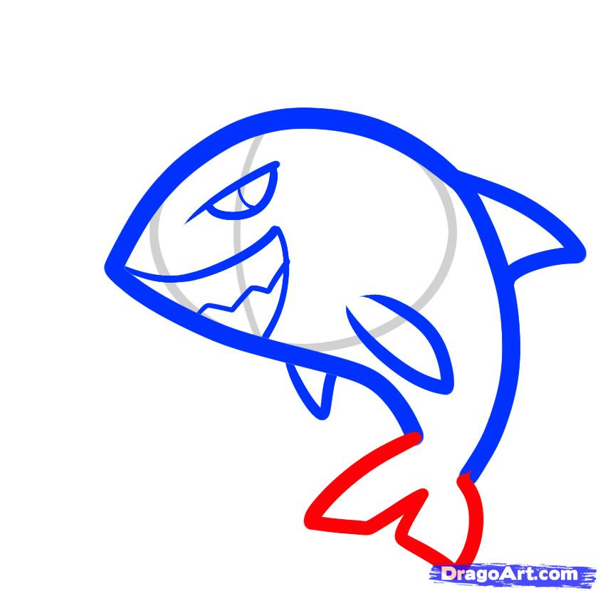 Рисуем двух акул ребенку - шаг 4