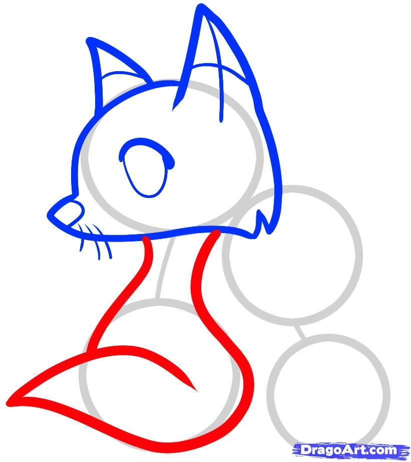 Рисуем двух лисичек ребенку - шаг 4