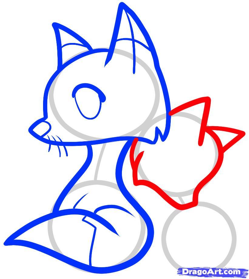 Рисуем двух лисичек ребенку - шаг 6