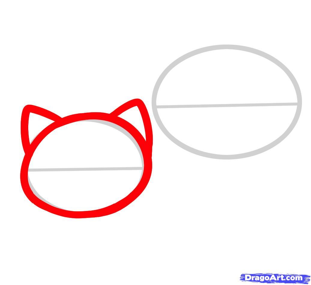 Рисуем двух маленьких котят ребенку - шаг 2