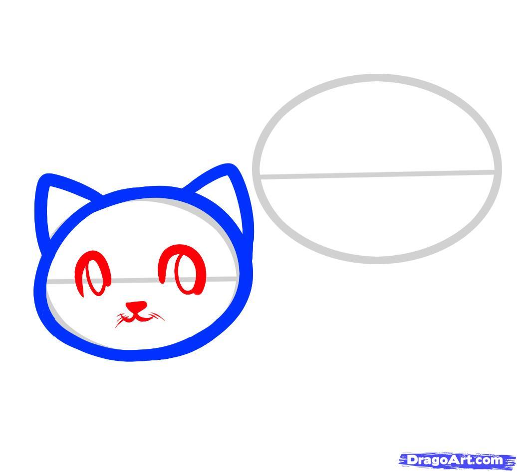 Рисуем двух маленьких котят ребенку - шаг 3