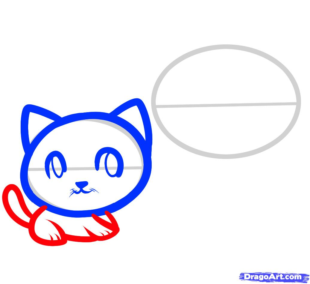 Рисуем двух маленьких котят ребенку - шаг 4
