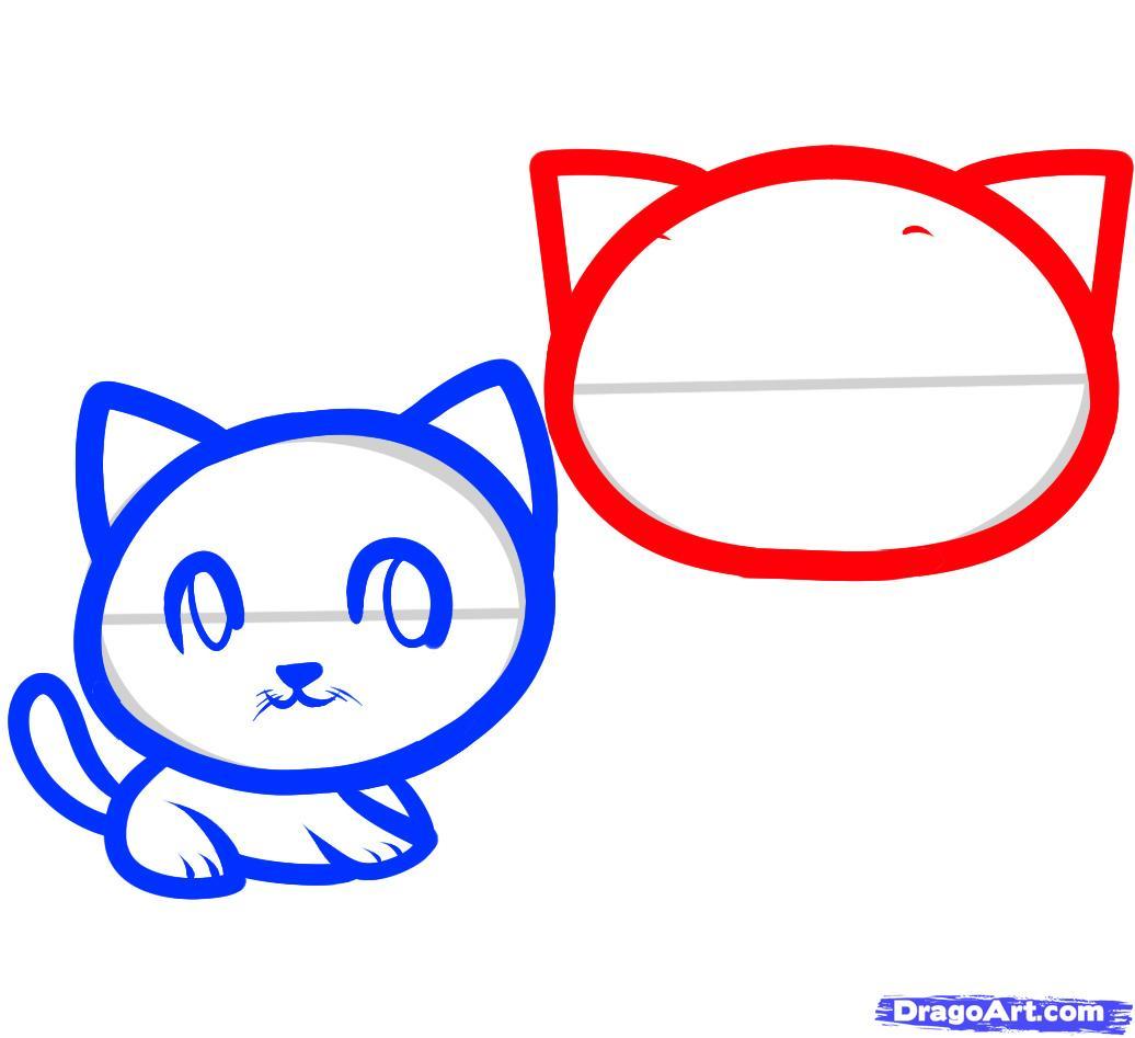 Рисуем двух маленьких котят ребенку - шаг 5