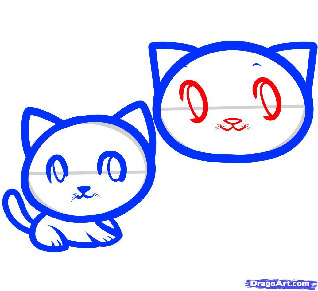 Рисуем двух маленьких котят ребенку - шаг 6