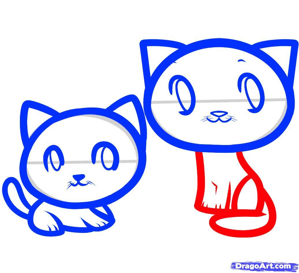 Рисуем двух маленьких котят ребенку - шаг 7