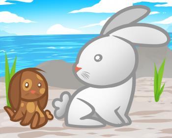 Рисуем двух маленьких кроликов ребенку