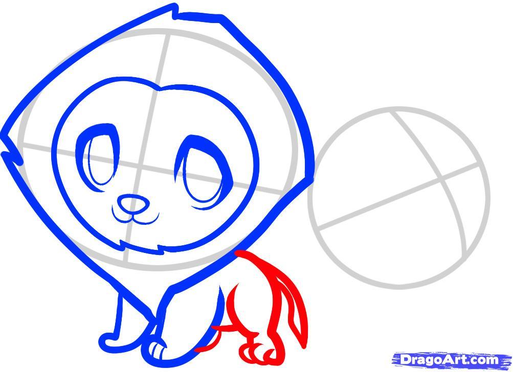 Рисуем двух маленьких львов ребенку - шаг 5