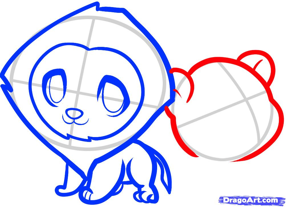 Рисуем двух маленьких львов ребенку - шаг 6