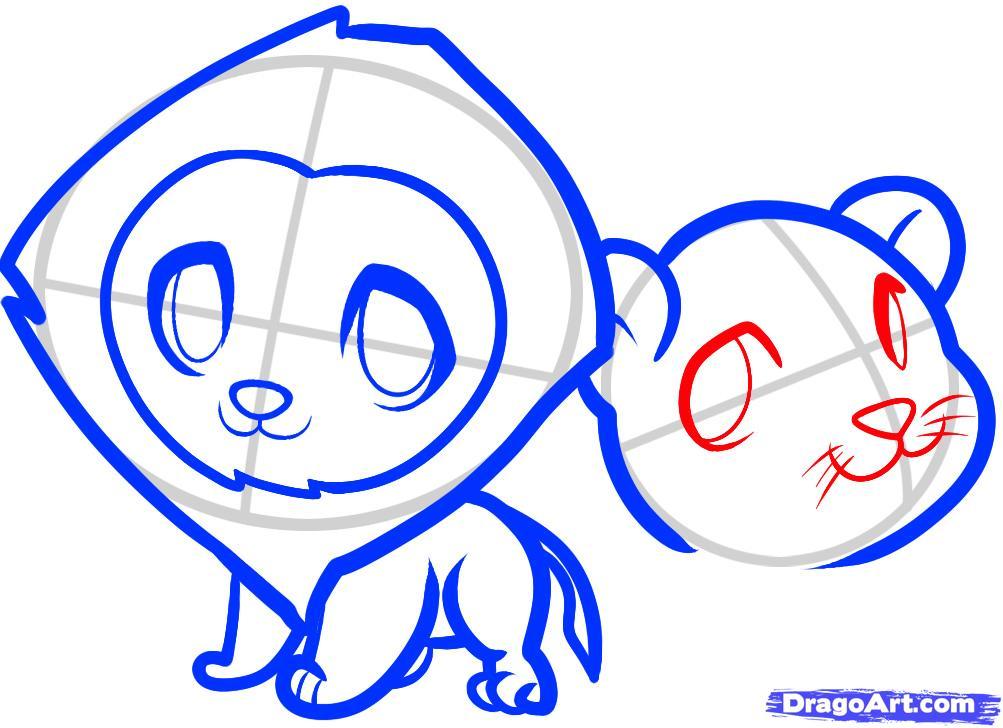 Рисуем двух маленьких львов ребенку - шаг 7