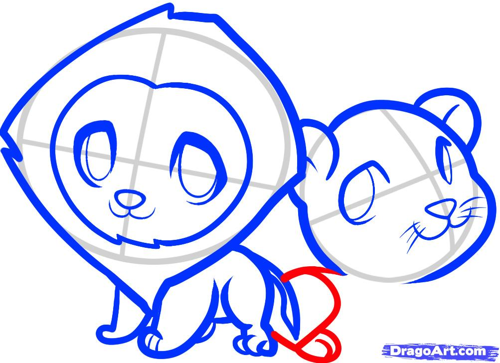Рисуем двух маленьких львов ребенку - шаг 8