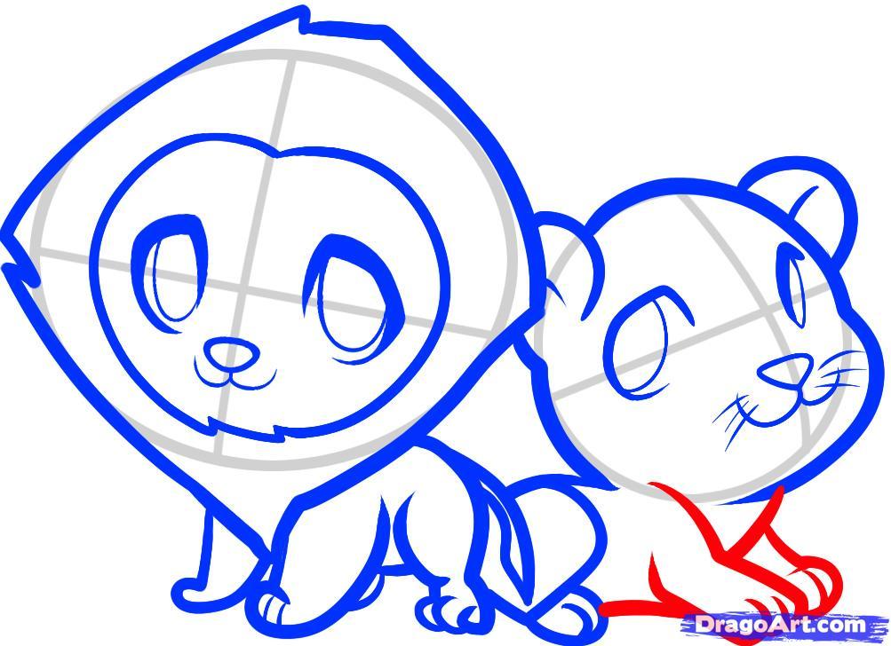 Рисуем двух маленьких львов ребенку - шаг 9