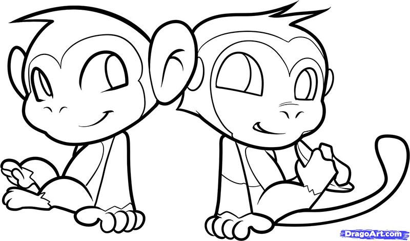 Рисуем двух маленьких обезьянок для детей - фото 12