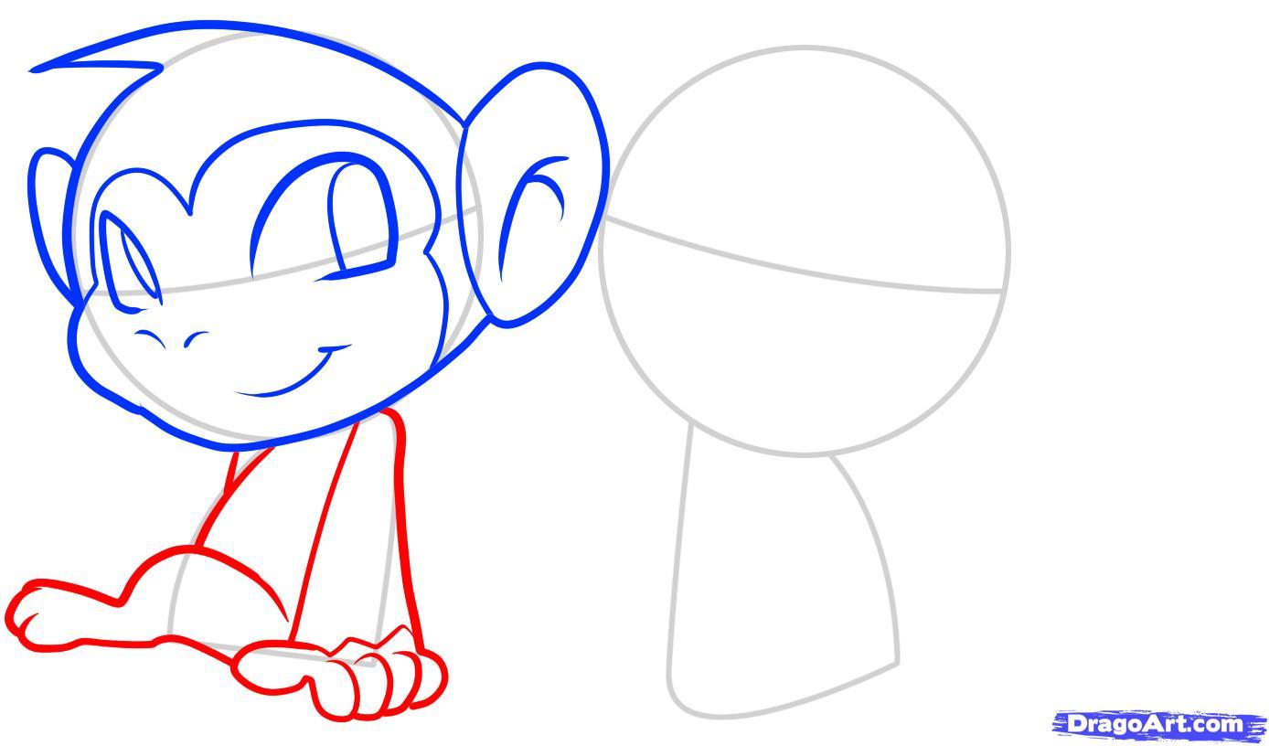 Рисуем двух маленьких обезьянок ребенку - шаг 5