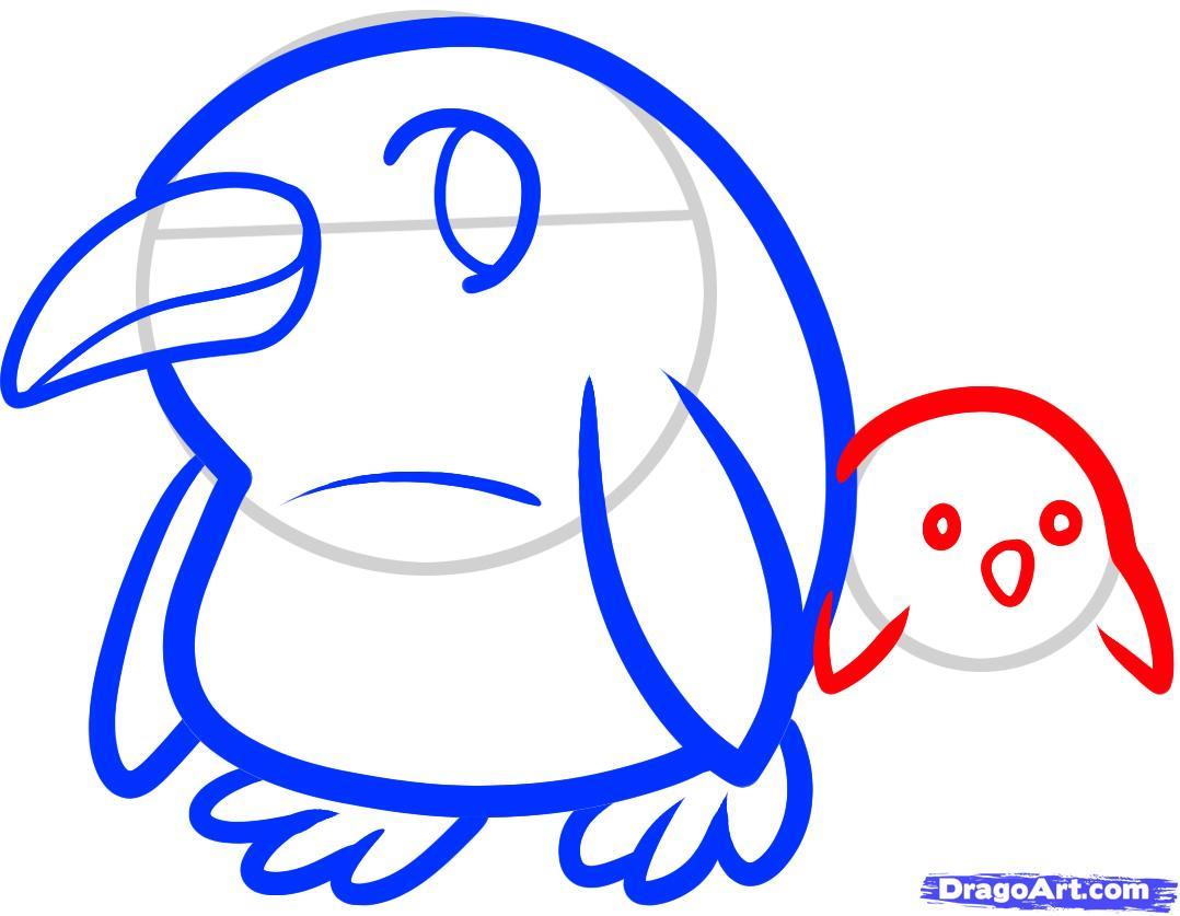 Рисуем двух маленьких пингвинов - шаг 5