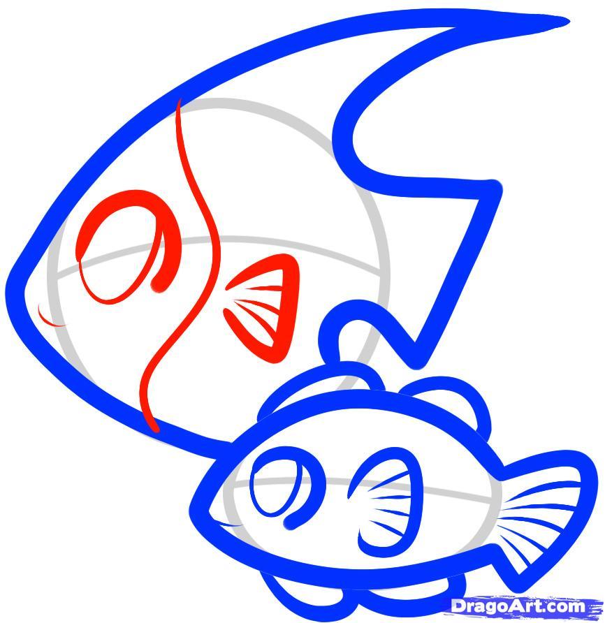 Рисуем двух рыбок ребенку
