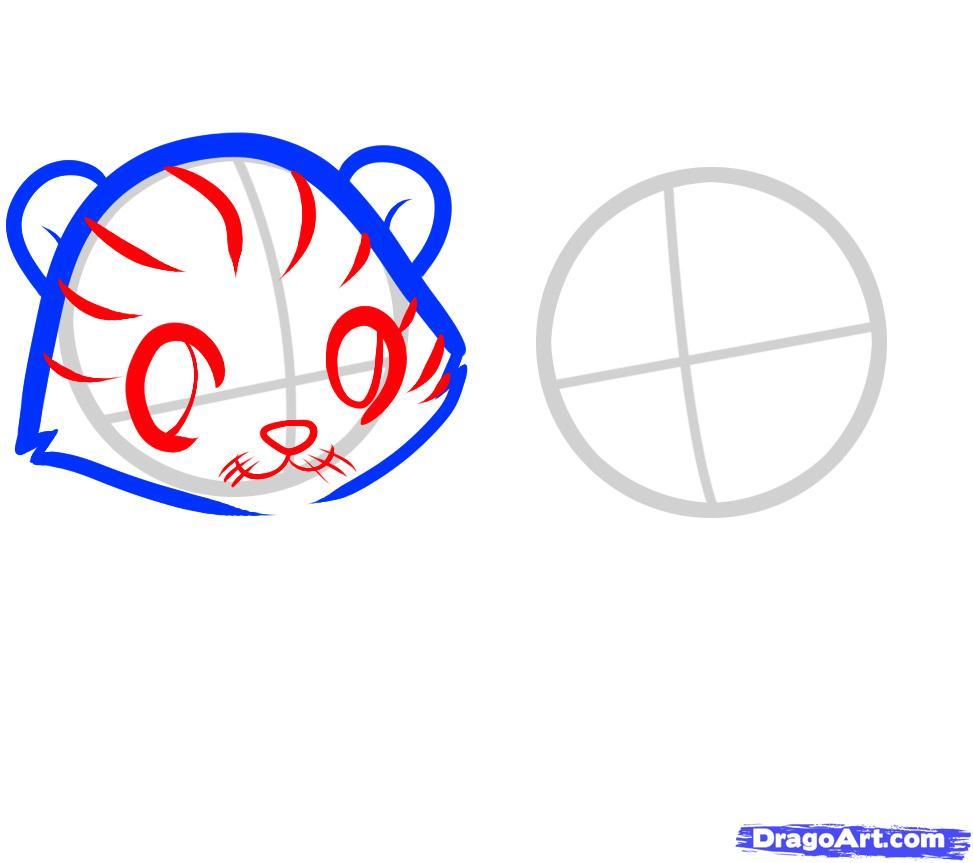 Рисуем двух тигрят ребенку - шаг 3