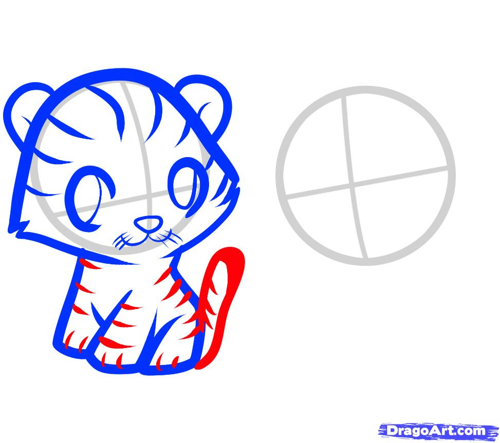 Рисуем двух тигрят ребенку - шаг 5