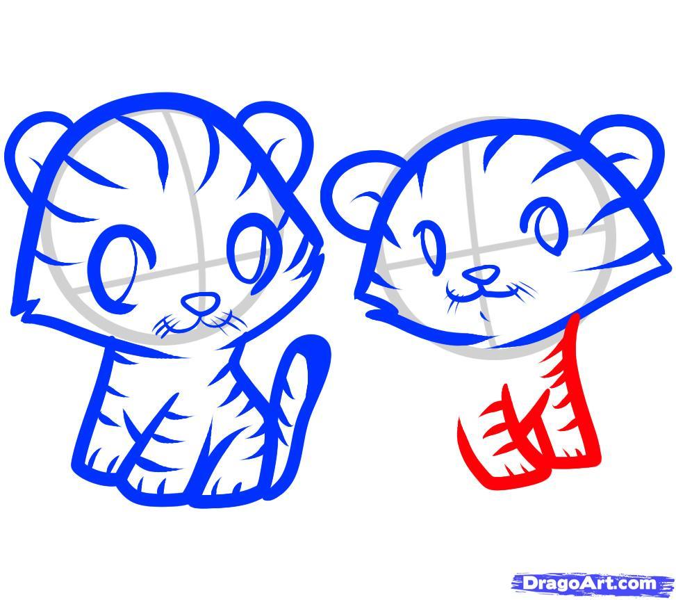 Рисуем двух тигрят ребенку - шаг 8